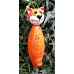 Gartenstecker Keramik Katze orange bunte Effekten