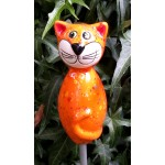 Gartenstecker Keramik Katze mini orange bunte Effekte